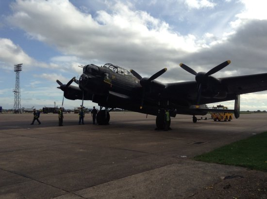 Coningsby, UK: Lancaster bomber, on airfield at Battle of Britain Memorial Visitors Centre