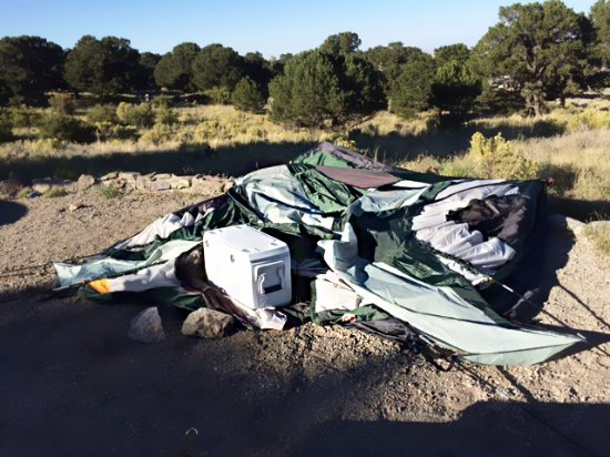 Alamosa, CO: Our tent the next morning after we dropped it down. All our stuff is in it!!