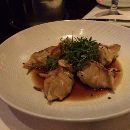 Spicy shrimp and pork pot-stickers, another appetizer almost big enough to be an entree, too