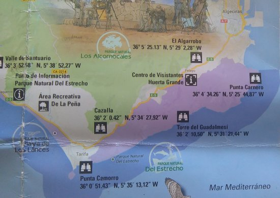 Map shows birds observation points close to Huerta Grande thanks to