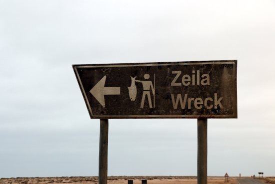 Hentiesbaai, Namibia: Zeila Shipwreck sign on the C34