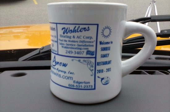 Stoughton, WI: This is a real coffee MUG at the Sunrise Family Restaurant. And they keep filling it!