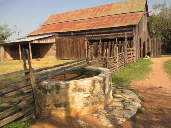 Stonewall, TX: Barn, watering trough in front