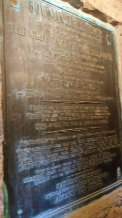 Washington Crossing, PA: Plaque with history of the tower