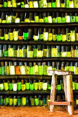Western Region, Ghana: Beach bar bottle wall