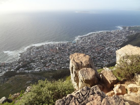 from the top of Lion's head, view on sea point and Fresnaye