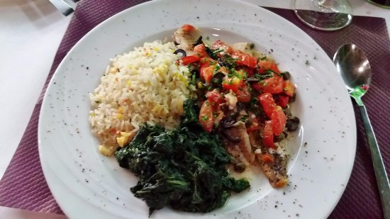 Cube Savognin : Mediterranean Fish with Spinach and Rice