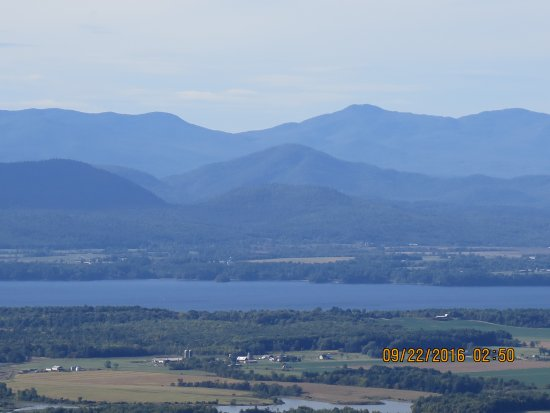 Addison, VT: Zooming in on mountains across the lake, viewed from the top