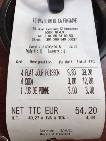 Conta Do Restaurante Picture Of Les Tables De La Fontaine Nimes