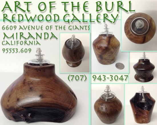 Miranda, Californië: Beautiful Burl Wood Lathe Turned Luminaries, lamp oil included with purchase