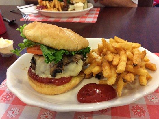 Hot Biscuit Diner: Mushroom & Swiss Burger w/ Fries - Yummy!!!