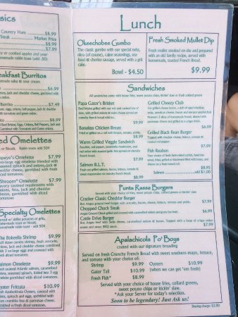 Menu - Picture of Florida Cracker Kitchen, Brooksville - TripAdvisor
