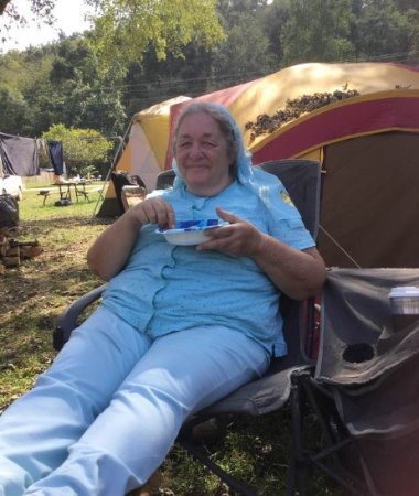 Steelville, MO: Me, relaxing in front of Laurie's tent, on Shabbat, life is so good!