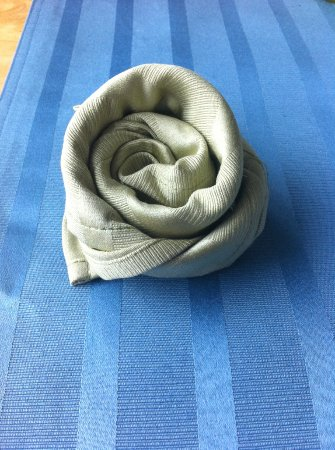 Te Awamutu, New Zealand: Folded flower-shaped napkins on the tables