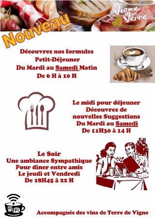 Vigne en Verre : Petit déjeuner, Déjeuner, Diner