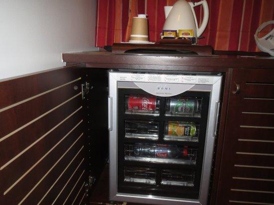 Hotel Concorde Montparnasse: 冷蔵庫には私物は入れられません。湯沸かしポットは便利。