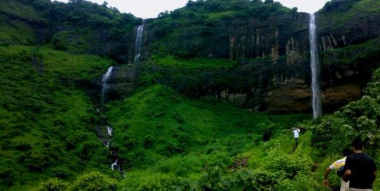 kharghar hills and natural water falls during the rainy season