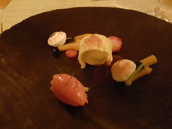 Aubergine: Strawberry and Rhubarb Composition