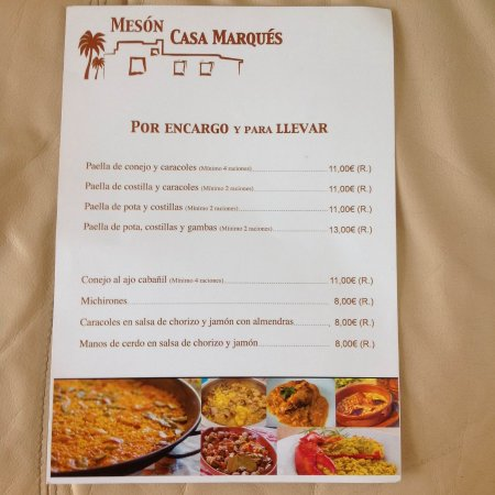 Carte Vera Andalousie.Sample A La Carte Menu1 Picture Of Meson Casa Marques