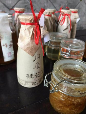 Dayi County, China: Locally made Pomelo marmalade and osmanthus wine