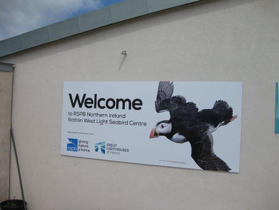 Ратлин-Айланд, UK: Seabird Centre - Eingangsschild