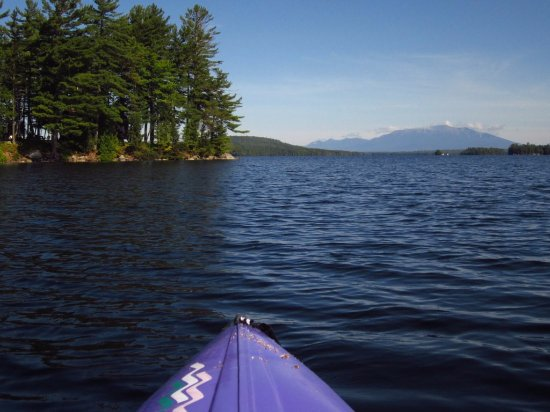5 Lakes Lodge : Kayaking on South Twin Lake from Lodge beach, Mt. Katahdin in distance.