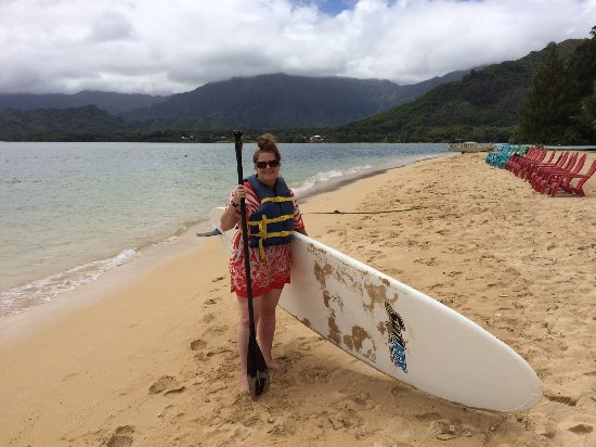 Kaneohe, Hawái: Attempting to paddle board on the secret island