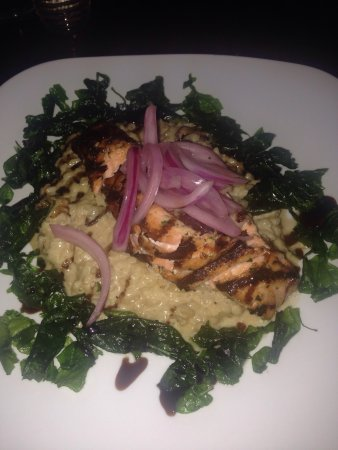 Elm Grove, WI: Lobster-stuffed salmon with fried spinach and pickled onions