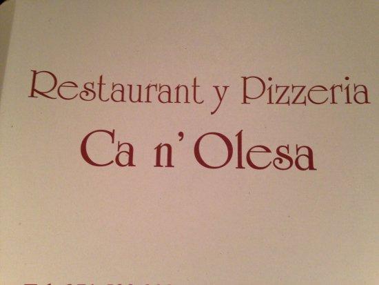 Can Olesa: Great menu