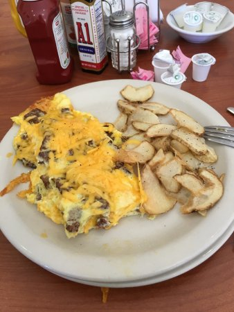 Omellette with potatoes at Mora's Main Street Grill