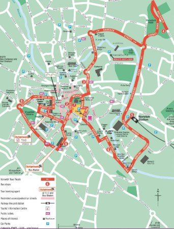 City Sightseeing Hop-on, Hop-off Tour of Norwich: map of tour from brochure