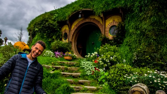 Hobbiton Movie Set Tours: In front of Bilbo Baggins house