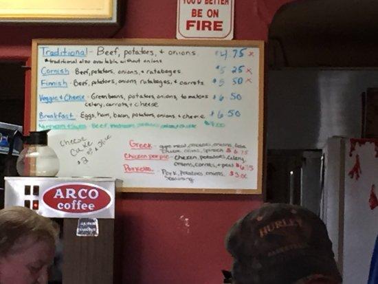 Joe's Pasty Shop: Menu options