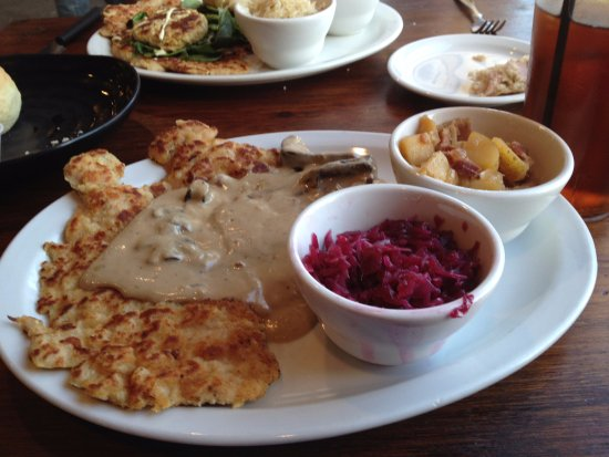 Paola, KS: Jager Schnitzel with German Potato salad and red cabbage