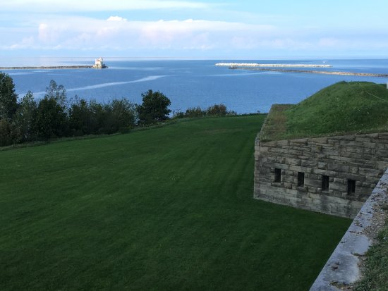 Fort Ontario State Historic Site: View of the casements with the lighthouse in the background