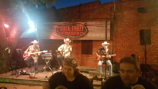 North Richland Hills, TX: 3 Fools on 3 Stools performing at the Back Forty Smokehouse.