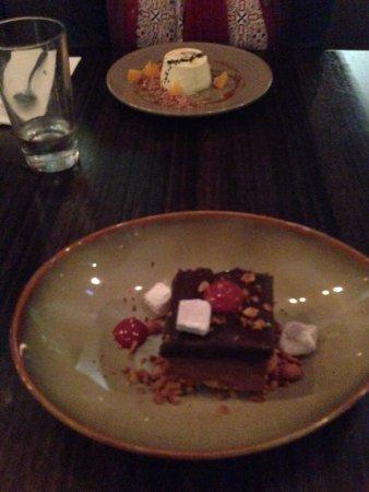 Chocolate peanut butter parfait (front); pannacotta (rear)
