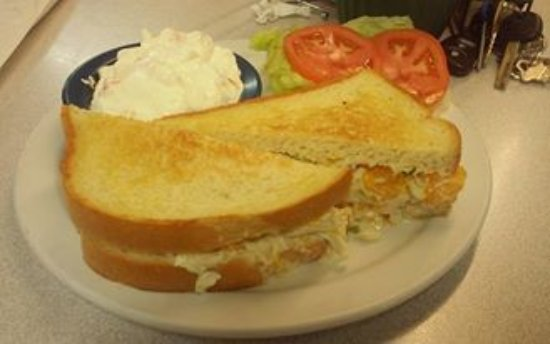 Macon, MO: chicken salad on sourdough with fruit fluff