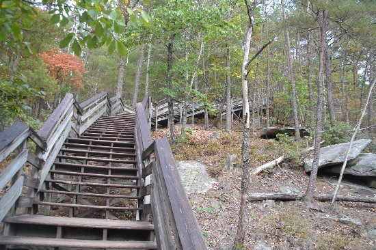 Roaring Gap, นอร์ทแคโรไลนา: Some of the steps on path to Stone Mountain Falls