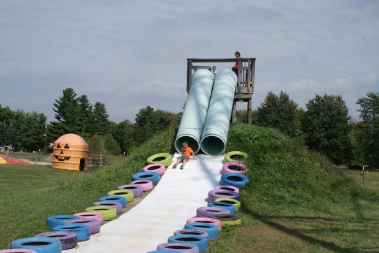 South Bend, IN: Eli going down the big hill slide.