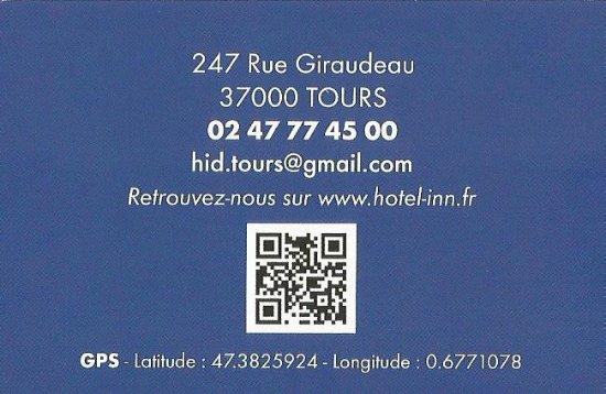 Hotel Inn Design Resto Novo Tours Carte De Visite