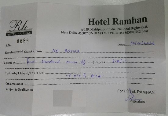 Cash receipt picture of hotel ramhan palace mahipalpur new delhi hotel ramhan palace mahipalpur cash receipt thecheapjerseys Choice Image