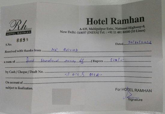 Hotel Ramhan Palace, Mahipalpur: cash receipt