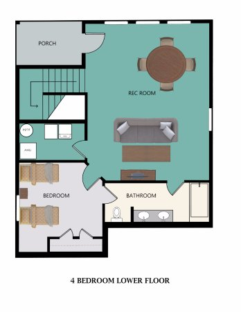 Stormy Point Village: Floor Plan for 4-Bedroom Lower Floor