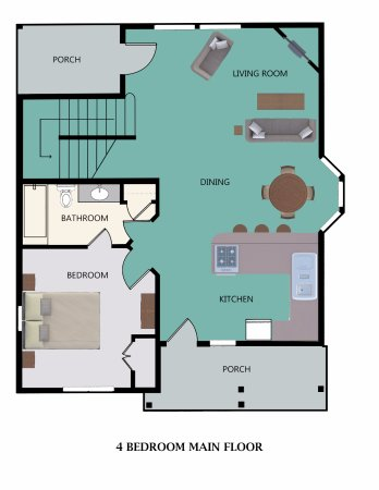 Stormy Point Village a Summerwinds Resort: Floor Plan for 4-Bedroom Main Floor