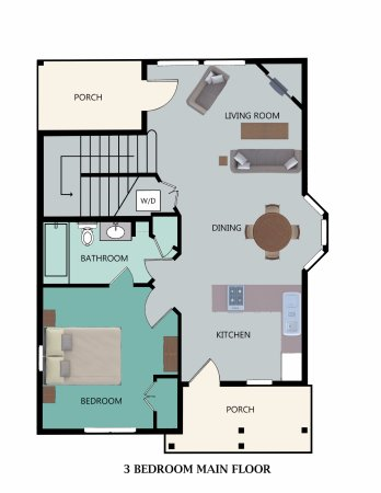 Stormy Point Village: Floor Plan for 3-Bedroom Main Floor