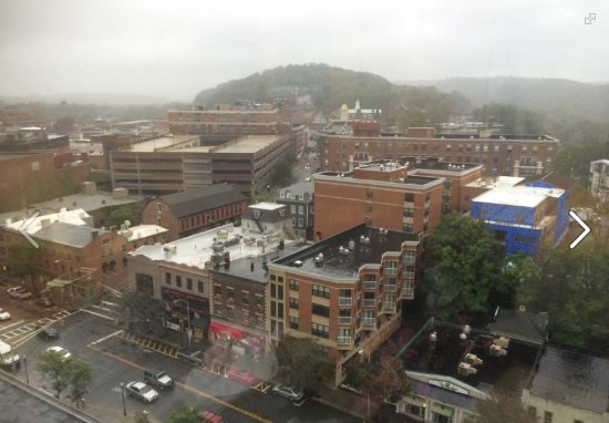 View of downtown Morristown from the 14th floor on a cloudy, rainy day.