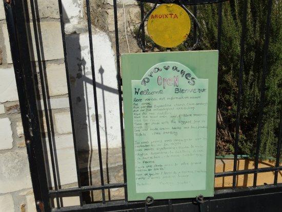 Thronos, Grèce : menukaart