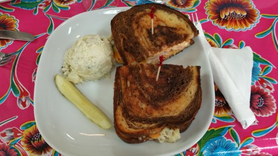Blanco, TX: Turkey Reuben with potato salad.