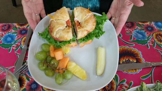 Blanco, TX: Egg Salad Sandwich with fruit.